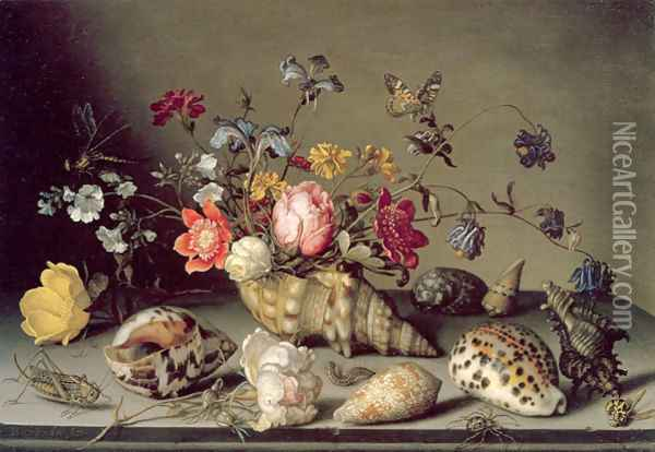 Still Life with Flowers, Shells and Insects Oil Painting - Balthasar Van Der Ast