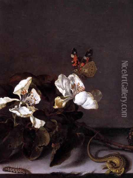 Still-Life with Apple Blossoms (detail) Oil Painting - Balthasar Van Der Ast