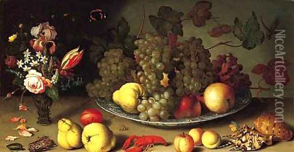 Still Life with Fruits and Flowers Oil Painting - Balthasar Van Der Ast