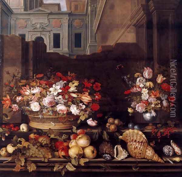 Still-Life with Flowers, Fruit, and Shells Oil Painting - Balthasar Van Der Ast