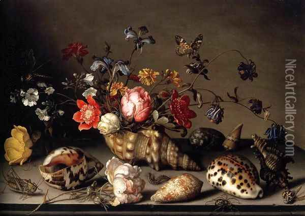 Still-Life of Flowers, Shells, and Insects Oil Painting - Balthasar Van Der Ast