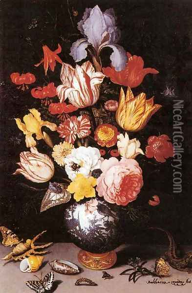 Flower Still-Life with Shell and Insects Oil Painting - Balthasar Van Der Ast