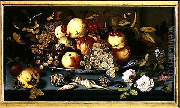 Still Life with Fruit Flowers and Seafood Oil Painting - Balthasar Van Der Ast