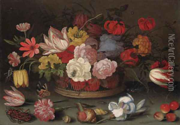 Roses, fritillaries, and lilies in a basket with cherries, shells, and an insect on a table Oil Painting - Balthasar Van Der Ast