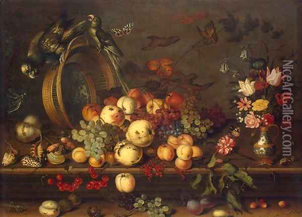 Still-Life with Fruits, Shells and Insects Oil Painting - Balthasar Van Der Ast