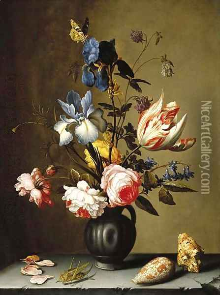 Irises, roses, columbine, hyacinth and a tulip in a black pottery pitcher, with seashells and a grasshopper on a stone ledge Oil Painting - Balthasar Van Der Ast