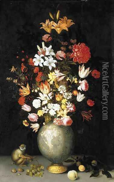 Lilies, roses, irises, tulips, narcissi, carnations and other flowers in a Chinese celadon ormulu-mounted vase, with a squirrel monkey, apricots Oil Painting - Balthasar Van Der Ast