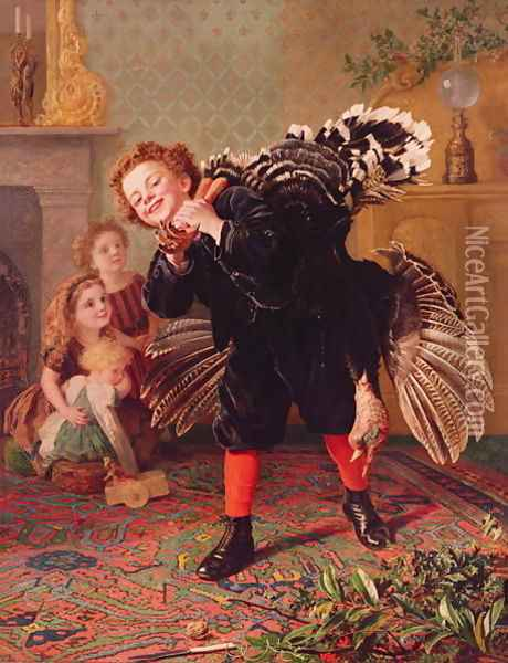 'Here Comes the Gobbler...' c.1877 Oil Painting - Sophie Gengembre Anderson