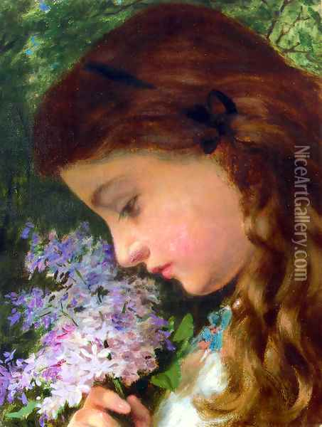 Girl With Lilac Oil Painting - Sophie Gengembre Anderson
