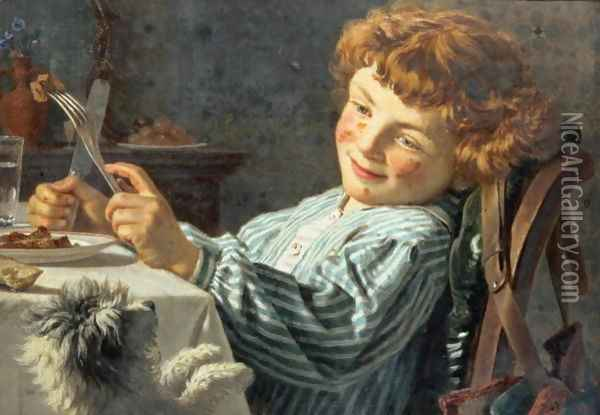 Sing for your Supper Oil Painting - Sophie Gengembre Anderson