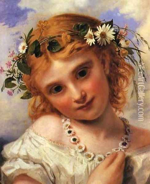 Young Girl with a Garland of Marguerites Oil Painting - Sophie Gengembre Anderson