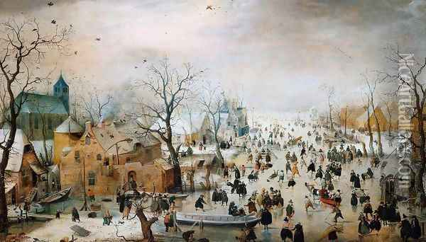 Winter Landscape 1608 Oil Painting - Hendrick Avercamp