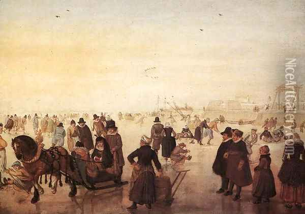 Ice Scene Oil Painting - Hendrick Avercamp