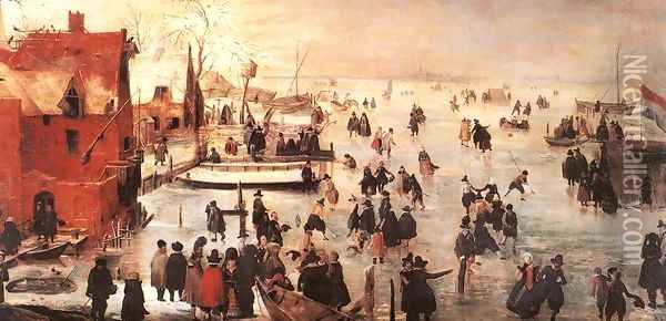 Ice Landscape Oil Painting - Hendrick Avercamp