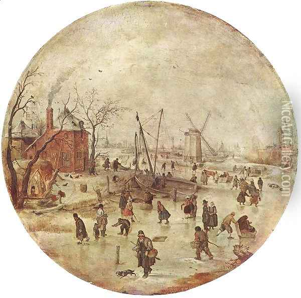 Winter Landscape With Skaters Oil Painting - Hendrick Avercamp