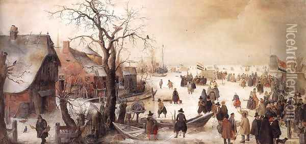 Winter Scene On A Canal Oil Painting - Hendrick Avercamp