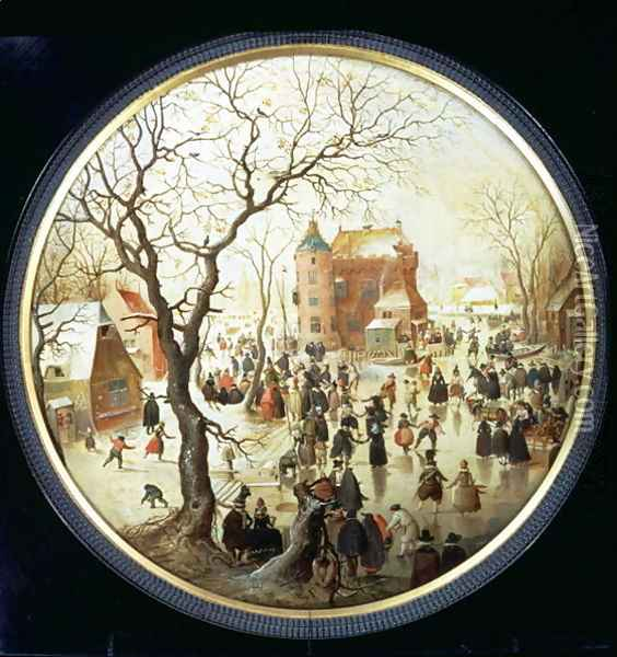 Winter Scene with Skaters near a Castle c.1608-09 Oil Painting - Hendrick Avercamp