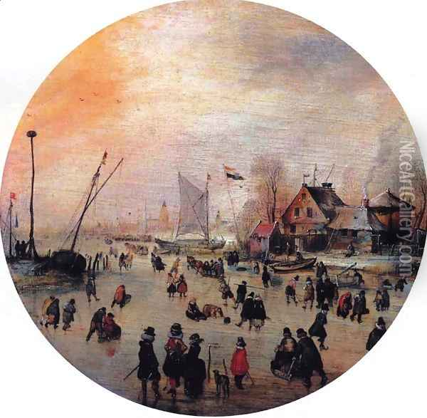 Winter Landscape with Skaters I Oil Painting - Hendrick Avercamp