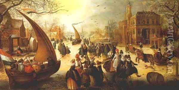 Landscape with Frozen Canal, Skaters and Ice Boats Oil Painting - Hendrick Avercamp