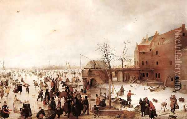 A Scene on the Ice near a Town, c.1615 Oil Painting - Hendrick Avercamp