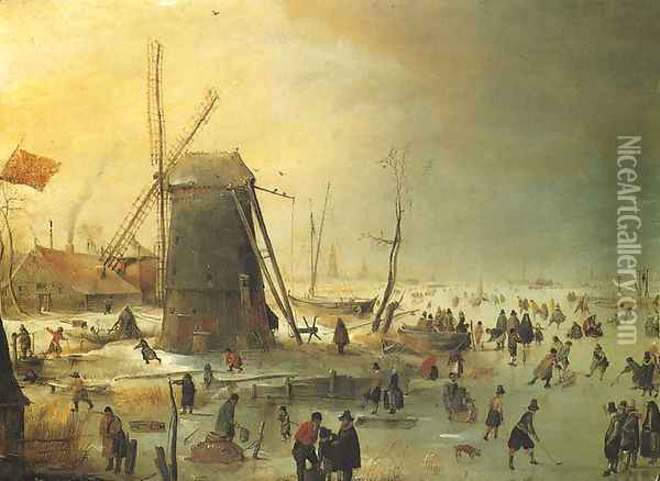 Winter Scene with Skaters by a Windmill Oil Painting - Hendrick Avercamp