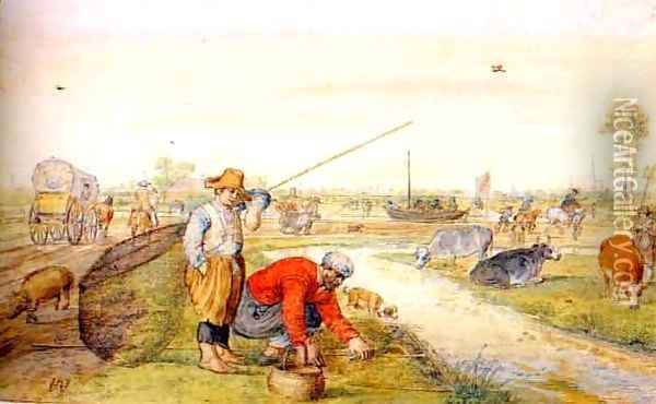 Fisherman at a Ditch Oil Painting - Hendrick Avercamp