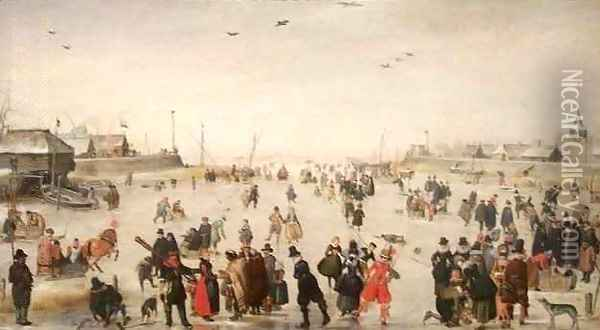 Winter Scene on a Frozen Canal Oil Painting - Hendrick Avercamp