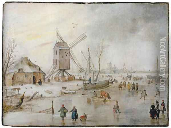 A winter landscape with figures on a frozen river near a windmill Oil Painting - Hendrick Avercamp
