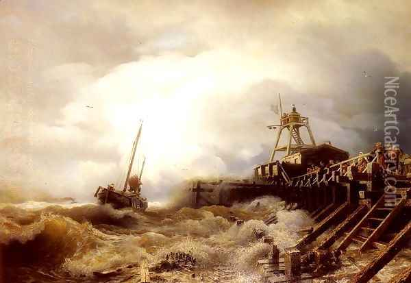 A Fishing Boat Caught In A Squall Off A Jetty Oil Painting - Andreas Achenbach