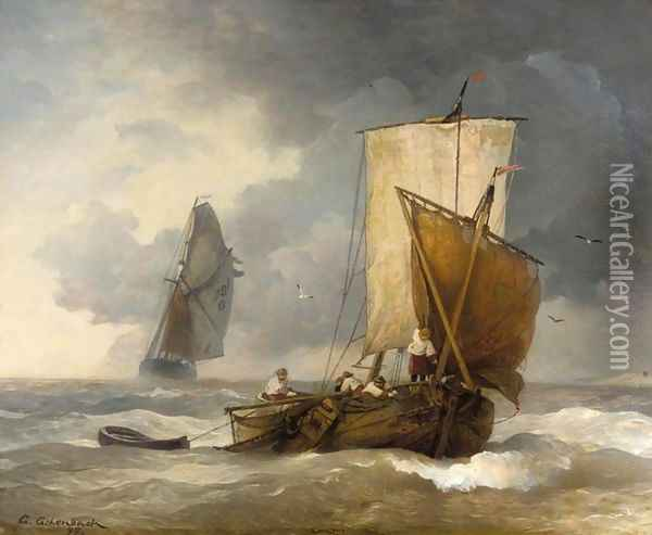 Fishing Boats in Stormy Seas (Fischkutter auf stürmischer See) Oil Painting - Andreas Achenbach