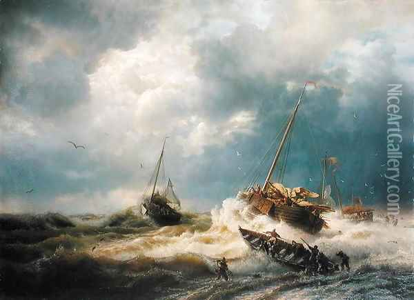 Ships in a Storm on the Dutch Coast 1854 Oil Painting - Andreas Achenbach