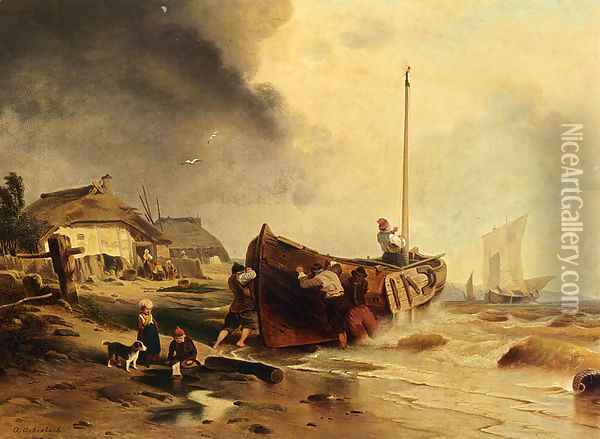 A Fishingboat On The Beach Oil Painting - Andreas Achenbach