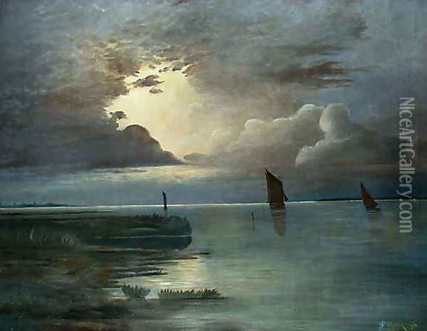 Sonnenuntergang am Meer mit aufziehendem Gewitter (Sunset at the Sea with Thunderstorm) Oil Painting - Andreas Achenbach