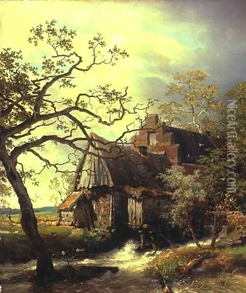 Mill on the river, landscape with watermill Oil Painting - Andreas Achenbach
