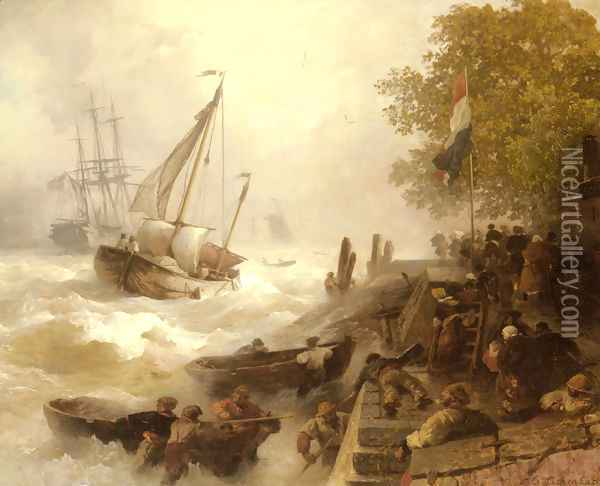 Hafeneinfahrt Bei Rauher See (Return To Harbour In Rough Seas) Oil Painting - Andreas Achenbach