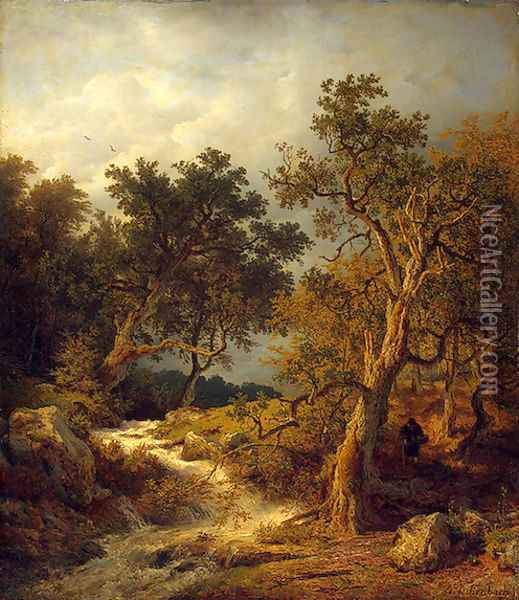 Landscape With A Stream Oil Painting - Andreas Achenbach