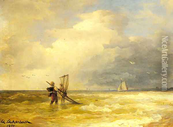 Fishing Along The Shore Oil Painting - Andreas Achenbach