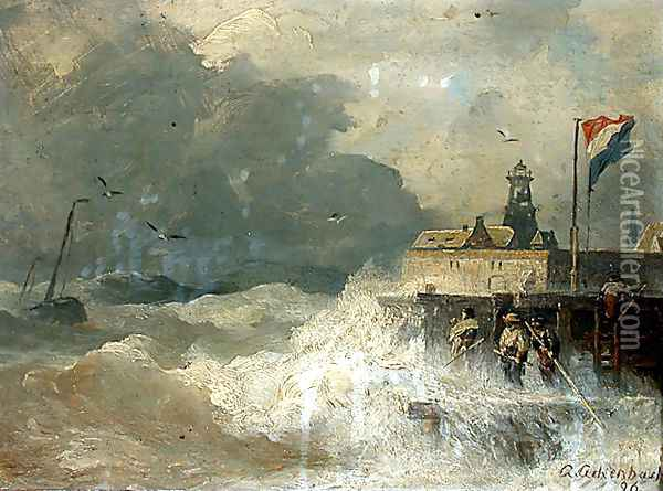 Sturm an der Küste (Storm at the Coast) Oil Painting - Andreas Achenbach