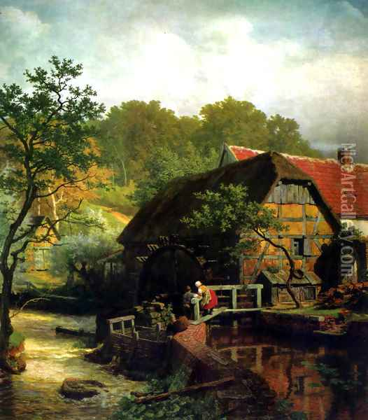 Westphalian watermill Oil Painting - Andreas Achenbach