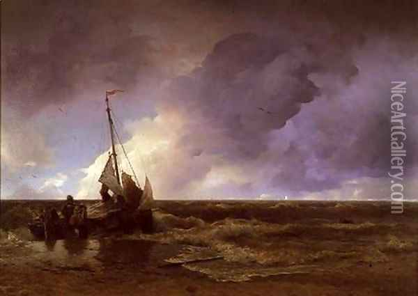 Coming Ashore Oil Painting - Andreas Achenbach