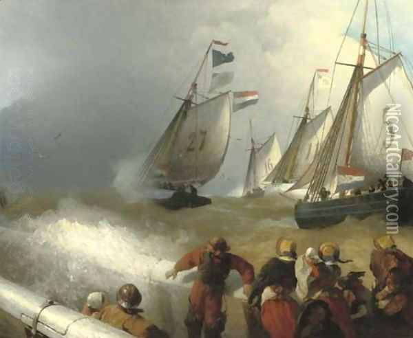 The race Oil Painting - Andreas Achenbach
