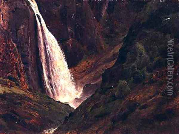 Mountainous landscape with a waterfall Oil Painting - Andreas Achenbach