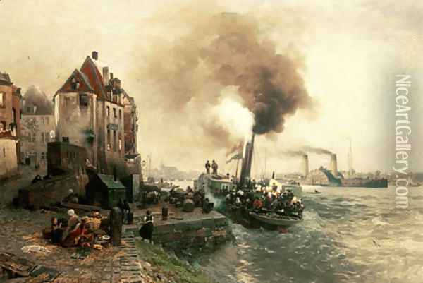 The coal gate at the bank of the Rhine of Düsseldo Oil Painting - Andreas Achenbach