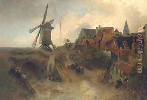 A windmill in a storm Oil Painting - Andreas Achenbach