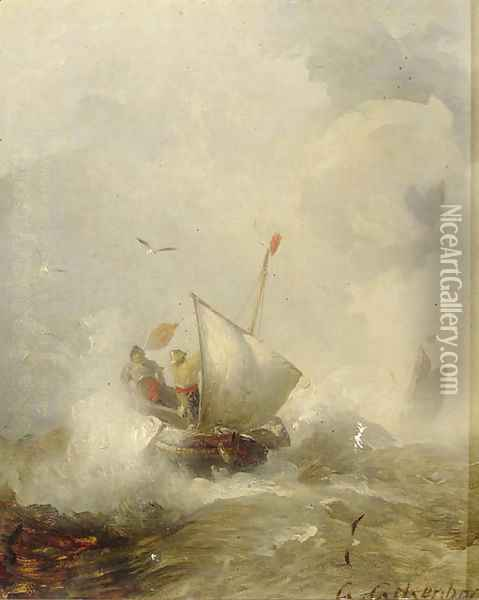 Fisherman in heavy seas Oil Painting - Andreas Achenbach