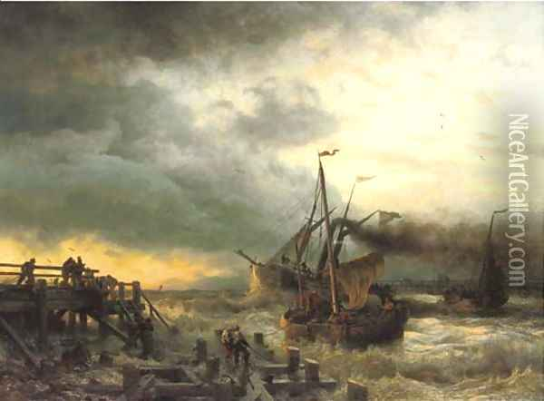 The departure of the steamship Oil Painting - Andreas Achenbach
