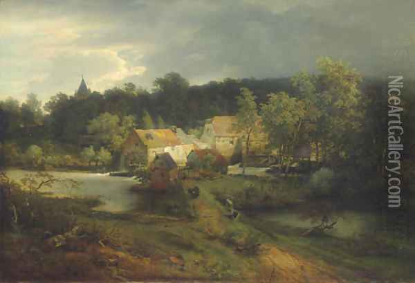 The Watermill in the Village Oil Painting - Andreas Achenbach