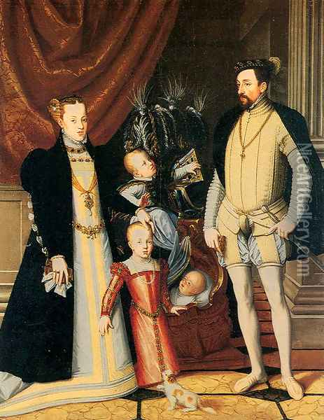 Maximilian II and His Family Oil Painting - Giuseppe Arcimboldo