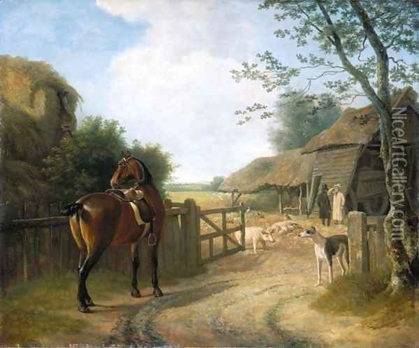 Daniel Beale At His Farm At Edmonton With His Favourite Horse Oil Painting - Jacques Laurent Agasse