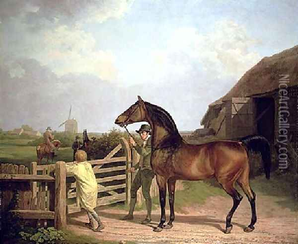 Bay Ascham A Stallion Led Through A Gate To A Mare Oil Painting - Jacques Laurent Agasse
